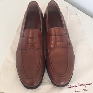 """Authentic Ferragamo Light Brown """"Penny"""" Loafers"""